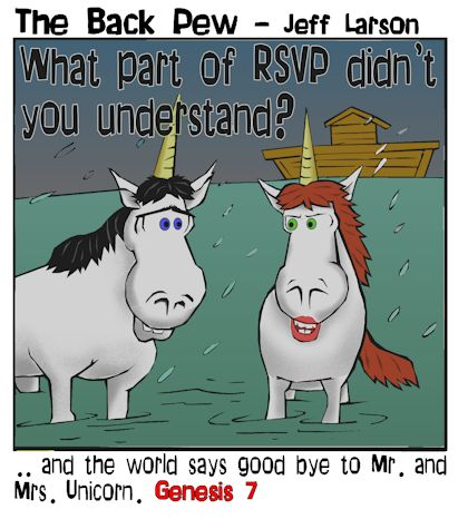 bible cartoons, unicorn cartoons, noahs ark cartoons, genesis 7