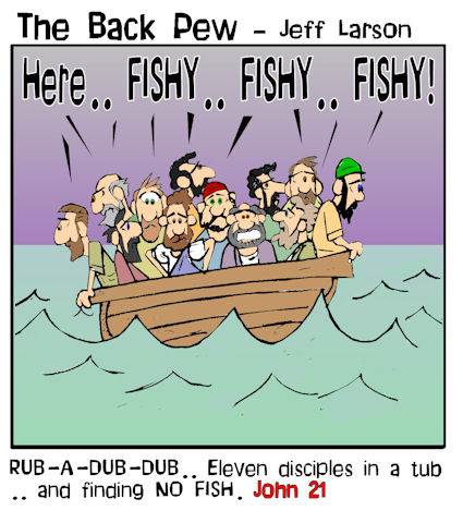 gospel cartoons, disciples fishing cartoons, John 21