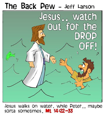 gospel cartoons, jesus cartoons, jesus walks on water cartoons