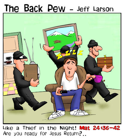 This christian cartoon features the gospel message comparing the Lord's return with a thief in the night