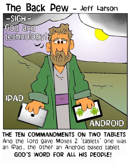 computer cartoons, tablet cartoons, moses cartoons, christian cartoons