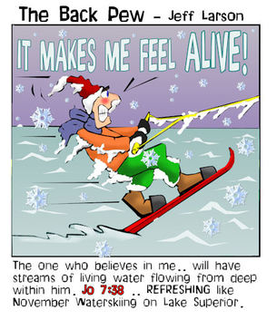 minnesota cartoons, christian cartoons, winter cartoons, november waterskiing cartoons, job 7:38