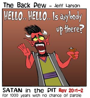 Revelations, bible, cartoons, prophesy, Revelations 20:1-2, Satan in the pit for 1000 years
