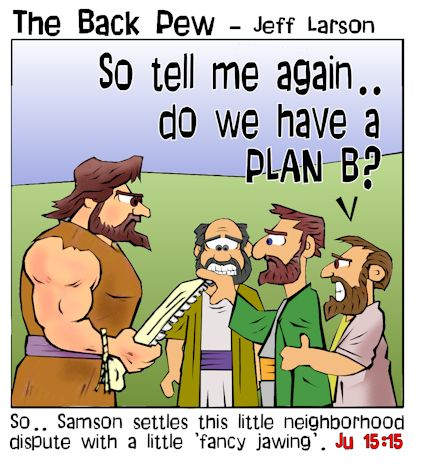 This bible cartoon features the bible story from Judges 15 where Samson takes the jawbone of a donkey to kill 1000 Philistines