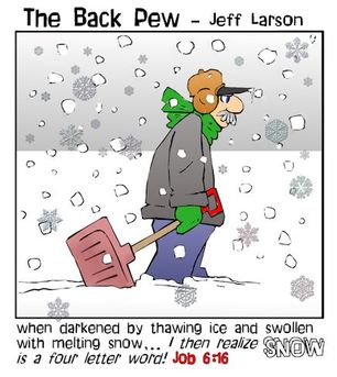 minnesota cartoons, christian cartoons, snow shoveling cartoons, job 6:16