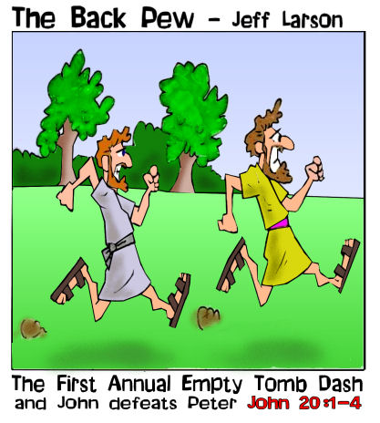 This Easter cartoon features Peter and John racing to the empty tomb as Jesus is risen