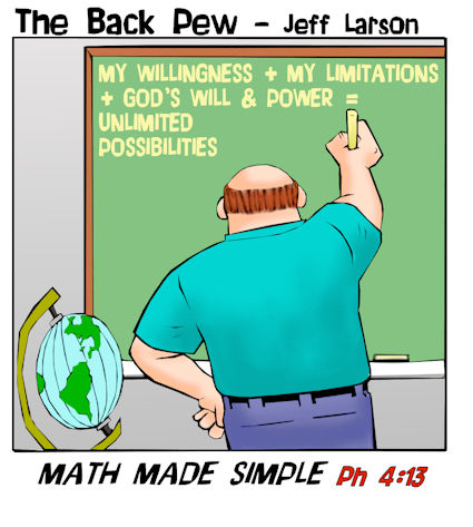 math cartoons, christian cartoons, philippians 4:13