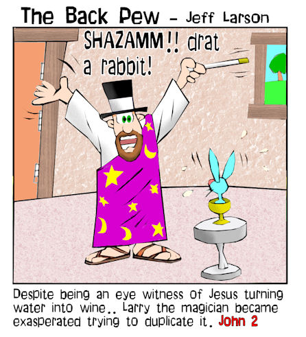 gospel cartoons, christian cartoons, water into wine cartoons, Jesus cartoons, John 2, miracles of Jesus cartoons, John 2 cartoons