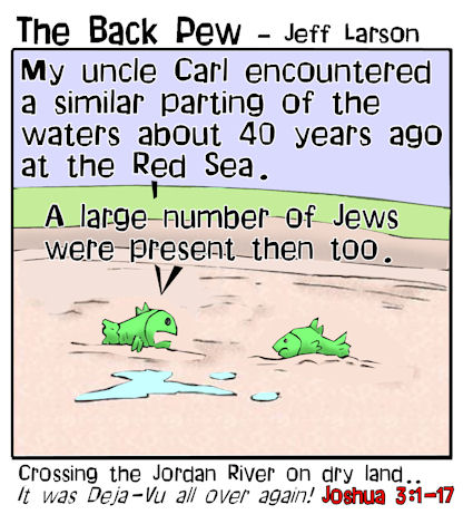 This bible cartoon features the story from Joshua 3 where the Jordan River was parted to allow the Jews to cross