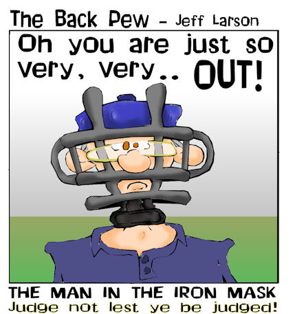 baseball cartoons, christian cartoons, umpire cartoons, sports cartoons, umpire mask cartoons
