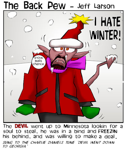 minnesota cartoons, christian cartoons, satan in minnesota cartoons, i hate winter cartoons