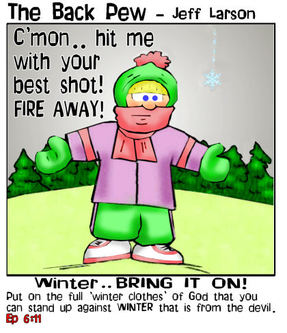 minnesota cartoons, christian cartoons, winter cartoons, ephesians 6:11