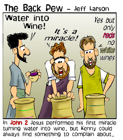 gospel cartoons, christian cartoons, water into wine cartoons, Jesus cartoons, John 2, miracles of Jesus cartoons