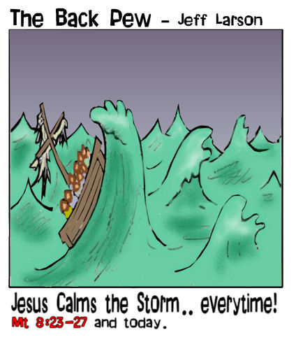 gospel cartoons, christian cartoons, Jesus calms storm cartoons, Matthew 8:23-27