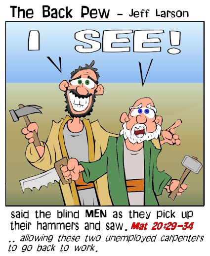 gospel cartoons, cartoons, Jesus heals blind men, Matthew 20:29-34