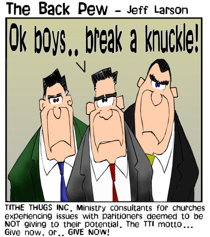 This christian cartoon features ministry consultants for churches to persuade an increase in giving