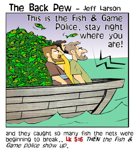 gospel cartoons, disciples fishing cartoons, Luke 5:6