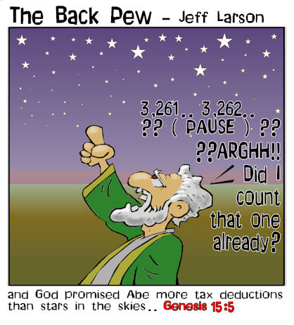 christian cartoons, Abraham counts stars cartoons, Genesis 15:5