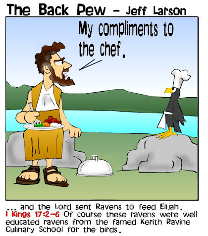 Old Testament, cartoons, Elijah, 1 Kings 17:2-6 fed by ravens