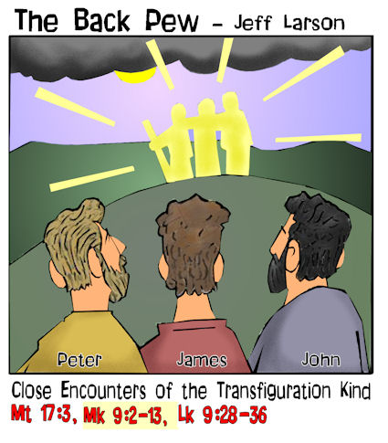 gospel cartoons, transfiguration cartoons, Jesus cartoons, Matthew 17:3, Mark 9:2-13, Luke 9:28-36