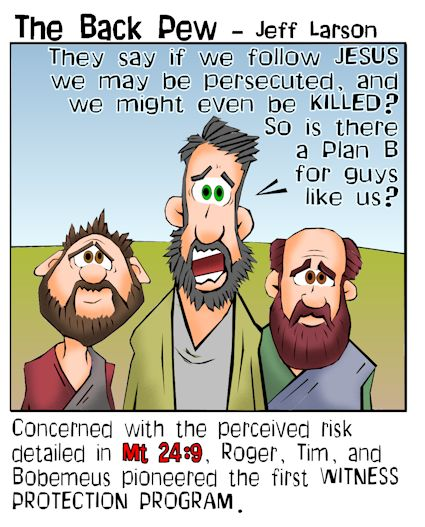 This gospel cartoon features three guys afraid of persecution if they follow Jesus and volunteer for the first witness protection program