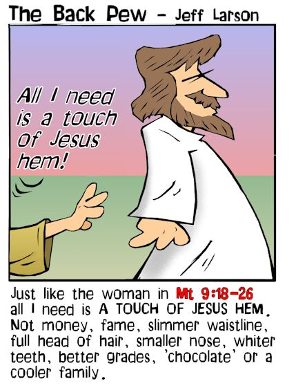 This gospel cartoon features  the woman tourching Jesus hem and being healed as told in Matthew 19