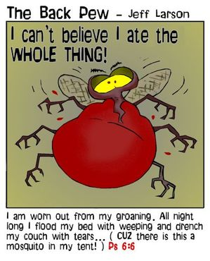 camping cartoons, mosquito cartoons, 1 peter 5:8
