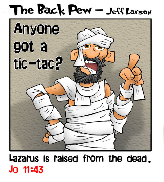 This bible cartoon features Lazarus risen from the dead as told in the gospels