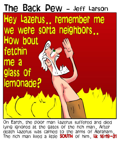 gospel cartoons, Jesus cartoons, rich man and Lazerus cartoons, Luke 16:19-31