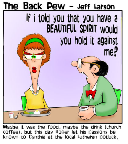 this christian cartoon features a romantic chance meeting at a church potluck