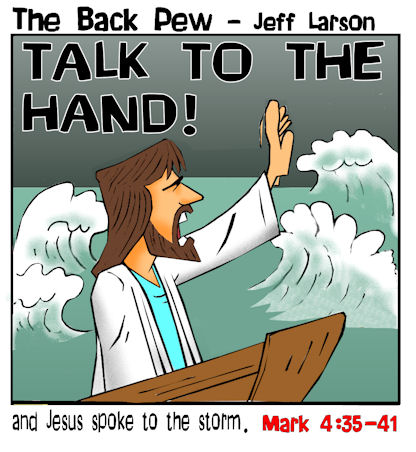 Gospels, cartoons, Jesus, Jesus calms the storm, Mark 4:35-41
