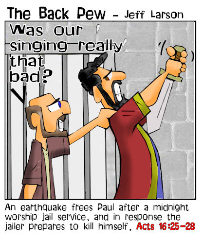 This bible cartoon features Paul stopping the jailer from killing himself in Acts 16