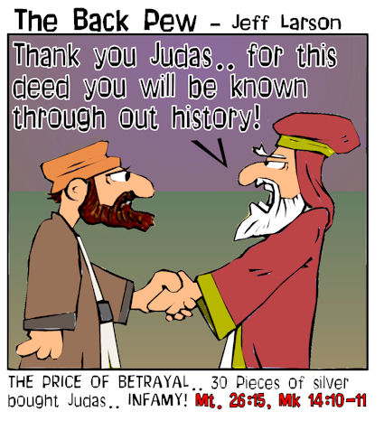 This gospel cartoon features the story of Judas betraying Jesus for 30 pieces of silver.
