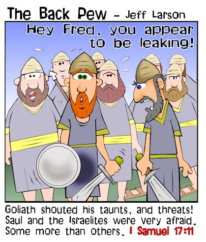 This Goliath cartoon features the story from 1 Samuel 17 where his taunts and shouts scared everyone