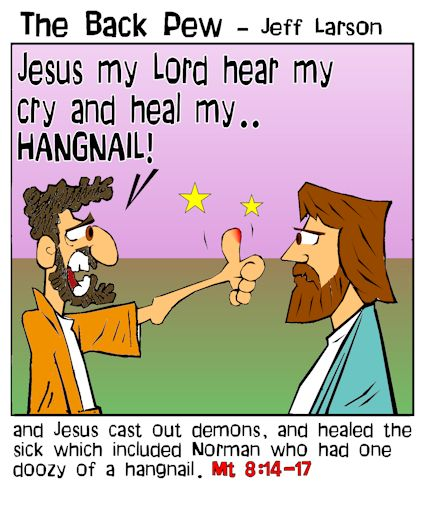 gospel cartoons, cartoons, Jesus miracles, Matthew 8:14-17