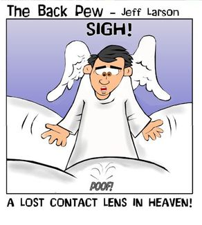 heaven cartoons, christian cartoons, pearly gates cartoons, angel cartoons, lost contacts in heaven cartoons