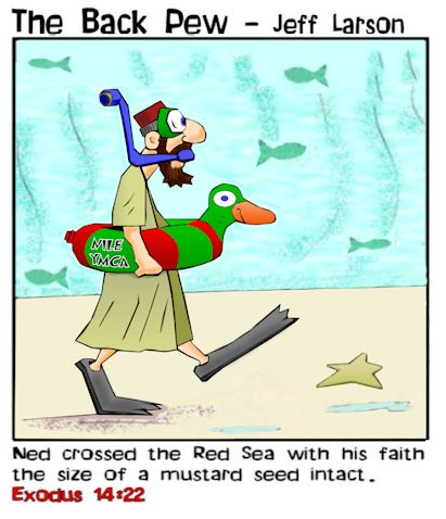 This bible cartoon features Moses parting the Red Sea in Exodus 14 where Ned crossed with some saftey concerns