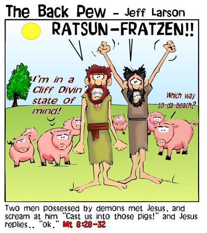 This gospel cartoon features the story of Jesus casting demons out of men and into herd of pigs