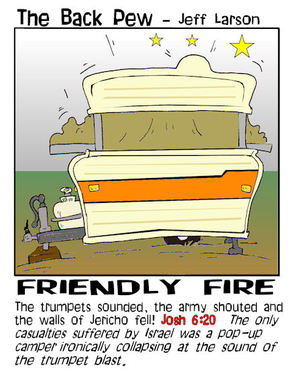 camping cartoons, camper cartoons, joshua 6:20