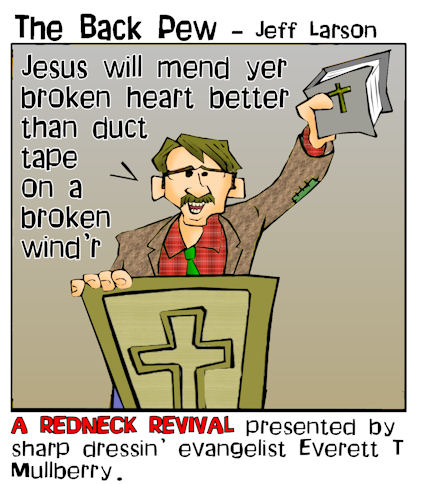 This redneck cartoon features a sermon using a duct tape illustration