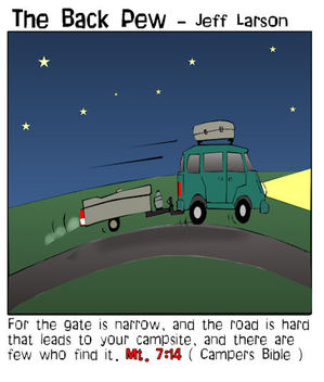 camping cartoons, road to campsite cartoons, Matthew 7:14