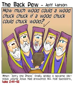 gospel cartoons, cartoons, Luke 2:41-52, young Jesus cartoons
