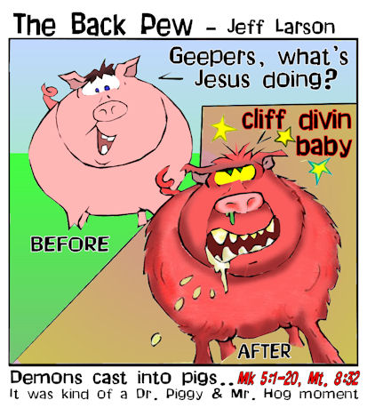 This gospel cartoon features a pig before and after Jesus cast a demon into him