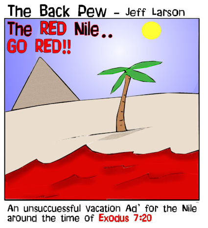 This bible cartoon features the story in Exodus 7 when God turned the Nile River into blood