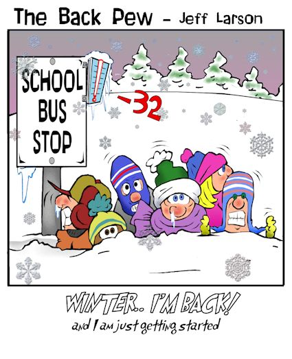 minnesota cartoons, christian cartoons, winter cartoons, below zero cartoons, school bus stop cartoons