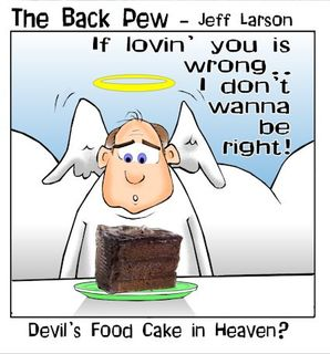 christian cartoons, temptation cartoons, compromise cartoons, devils food cake in heaven cartoons