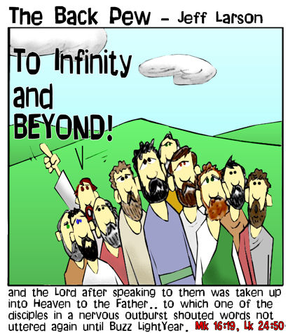 gospel cartoons, Jesus cartoons, the Ascension cartoons, Mark 16:19, Luke 24:50