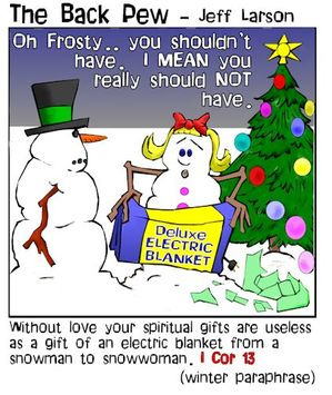 snowman cartoons, christian cartoons, snowman presents cartoons, 1 corinthians 13