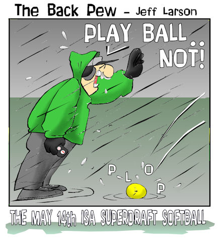 softball cartoons, umpire cartoons, sports cartoons, umpire strike cartoons, rainy softball game cartoons