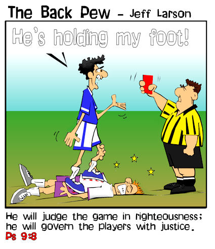 soccer cartoons, soccer player cartoons, soccer ref cartoons, red card cartoons, pslams 9:8